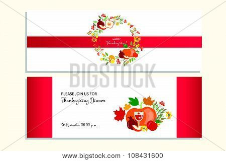 Happy Thanksgiving Banners With Icon, Logo/badge