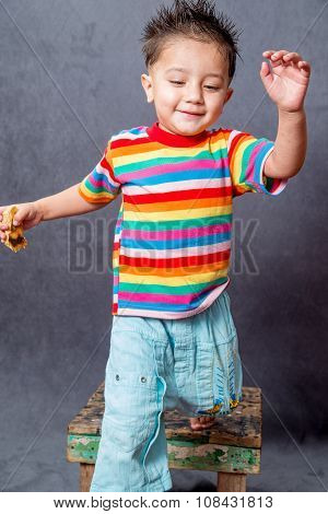 happy jumping . boy fashion portrait. Child model.