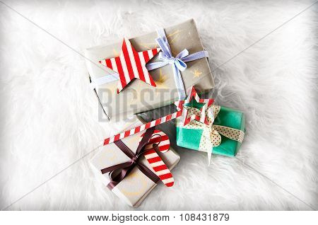 Handcraft Gift Boxes On White Background from the fur