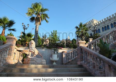 Large Parade Stair In  Palace With Beautiful Decorum And Statues