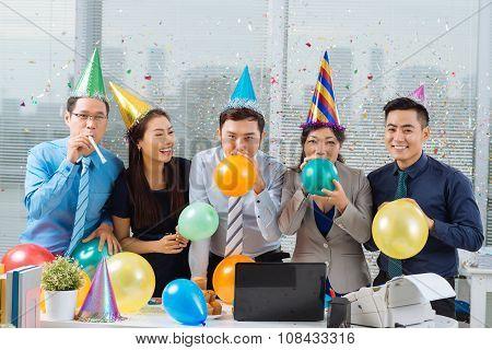 Celebrating in office