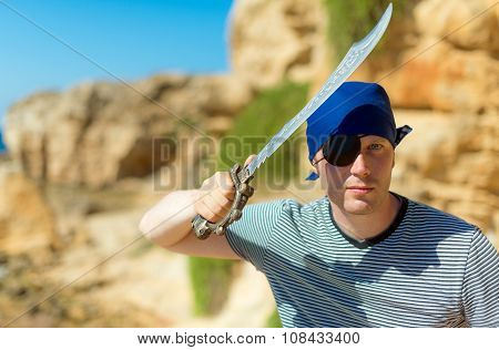 Male Pirate With Sword. Place For Your Text.