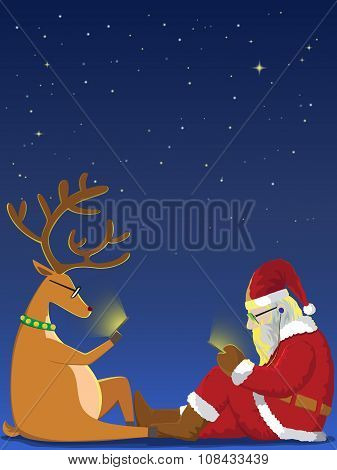 Santa And Reindeer Playing Smartphone