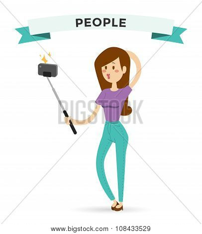 Selfie photo shot girl or woman vector portrait illustration