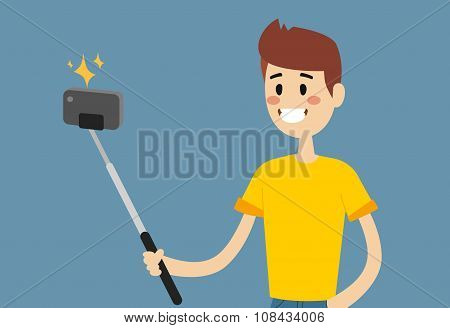 Selfie photo shot man or boy vector portrait illustration
