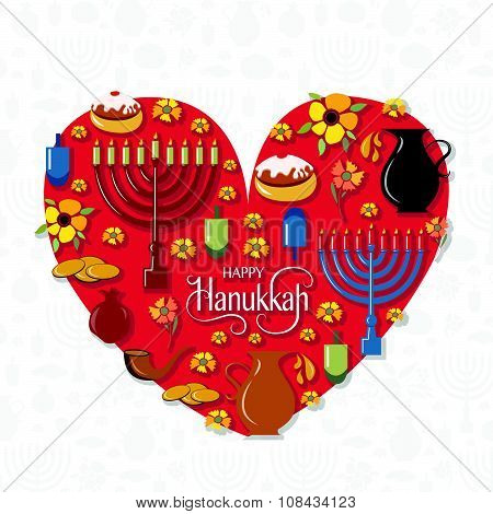 Hand Sketched Happy Hanukkah Logotype, Badge And Icon Typography