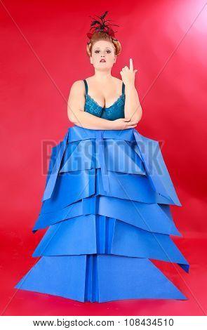 Woman In Unique Blue Dress