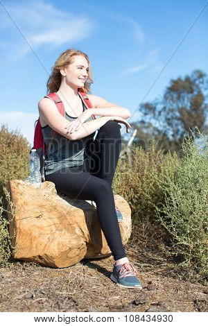 Young woman hiking on a sunny day
