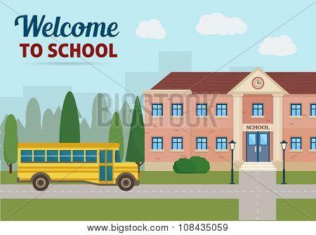 School building and school yellow bus