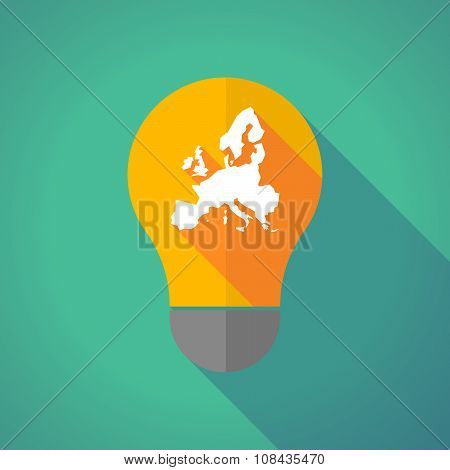 Long Shadow Vector Light Bulb With  A Map Of Europe
