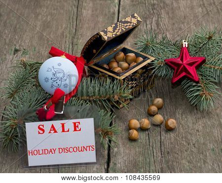 Fir-tree Branch With An Ornament, A Casket With Nutlets And A Label Festive Sale