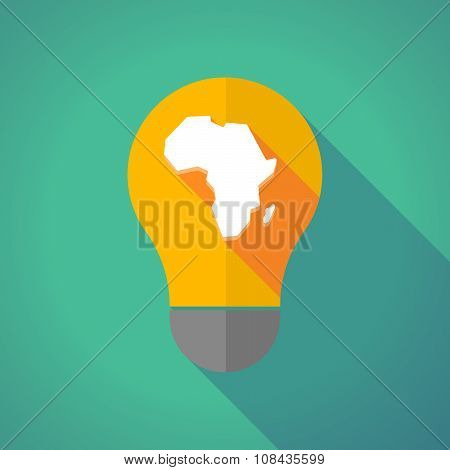 Long Shadow Vector Light Bulb With  A Map Of The African Continent