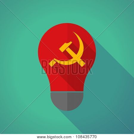 Long Shadow Vector Light Bulb With  The Communist Symbol