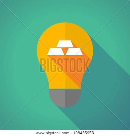 Long Shadow Vector Light Bulb With Three Gold Bullions