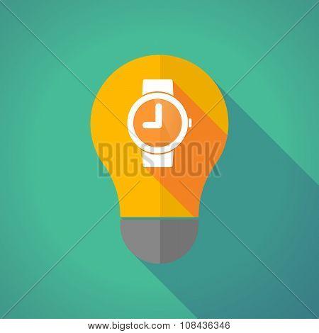 Long Shadow Vector Light Bulb With A Wrist Watch