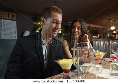 Couple In Love Dining At An Elegant Restaurant