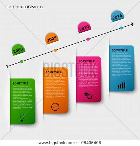 Time Line Info Graphic With Tucked Colorful Labels Template