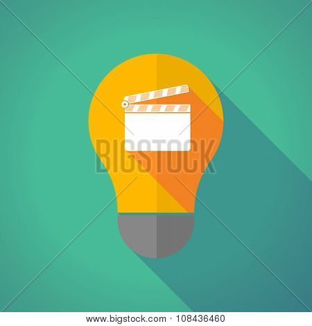 Long Shadow Vector Light Bulb With A Clapperboard
