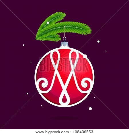 M Letter With Christmas Red Ball And Fir Branches.