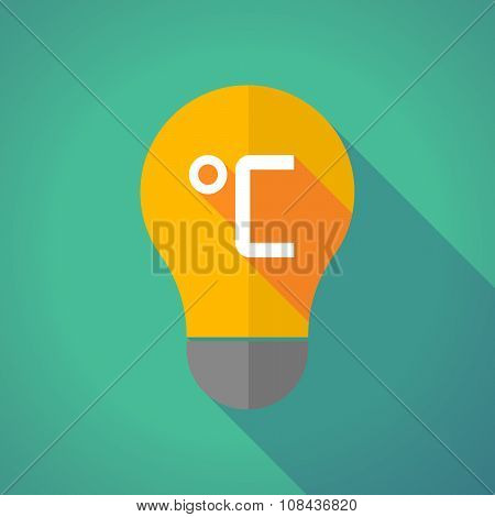Long Shadow Vector Light Bulb With  A Celsius Degree Sign