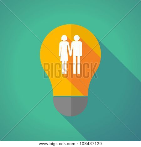 Long Shadow Vector Light Bulb With A Heterosexual Couple Pictogram