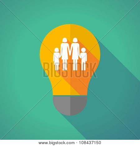 Long Shadow Vector Light Bulb With A Lesbian Parents Family Pictogram