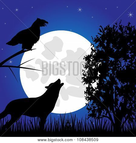 Silhouette of the wolf and hollered in wood in the night