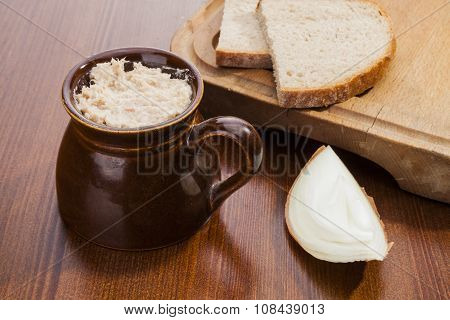 Pork Lard In The Pot And Dark Bread