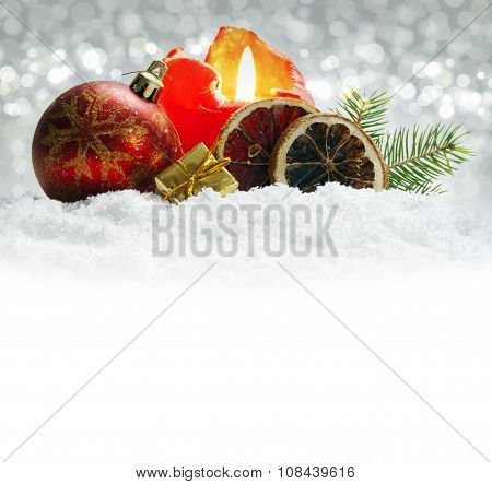 Christmas  decoration isolated on silver background.Advent candle.