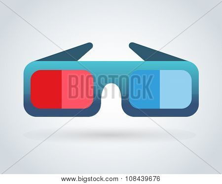 3d cinema movie glasses on white background. Vector illustration of 3d cinema glasses. Vector movie glasses, glasses silhouette isolated