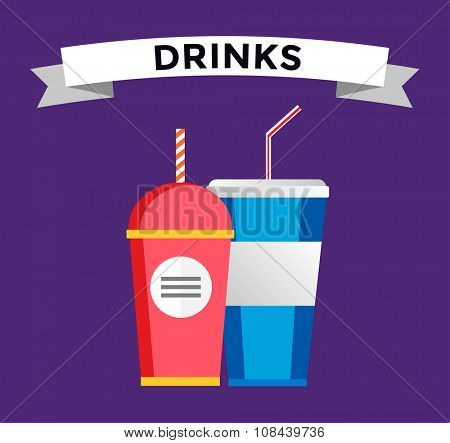 Fast food drinks pack set. Fruit drink logo icon template. Fresh juice, drink, vegetarian drinks, cold water, objects. Food logo, food icon, drinks logo, drinks icon, soda glass, drink logo
