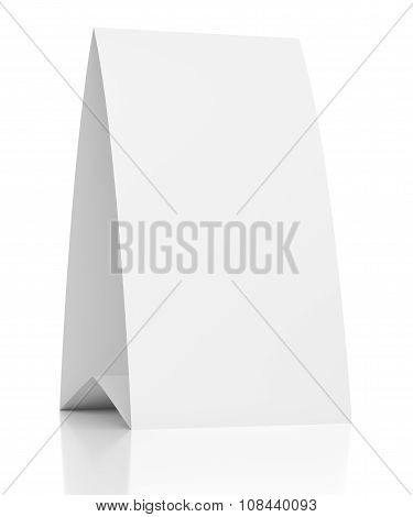 3D Blank Table Paper Card On White