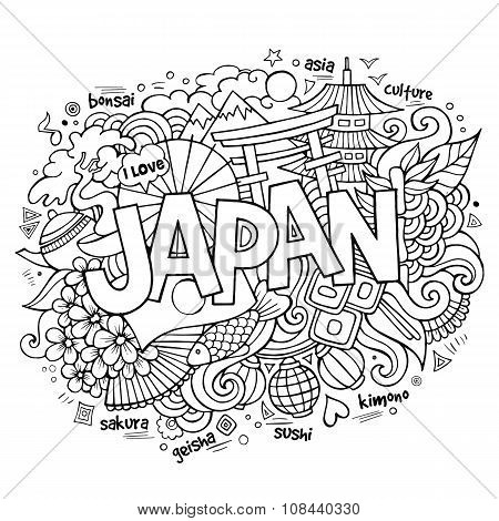 Japan hand lettering and doodles elements background