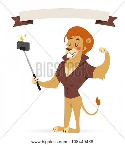 Selfie photo shot lion young boy power strong man illustration on white background. Cartoon lion sportsman, lion man vector. Selfie shot lion hipster. Vector lion isolated. Lion like strong man with