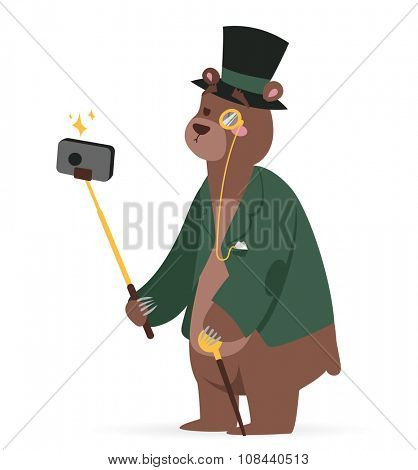 Selfie photo bear business man vector portrait illustration on white background. Cartoon bear business man, bear vector. Selfie shot bear businessman. Vector bear isolated. Bear business man or