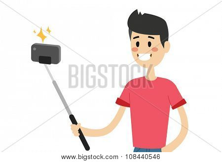 Selfie photo shot man or boy vector portrait illustration on white background. People fun vector illustration. Selfie shot man, boy, teenager, adult boy. Vector selfie photo shot people. Young happy