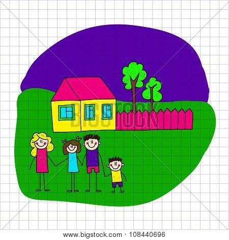 Vector image of happy family. Notebook paper.