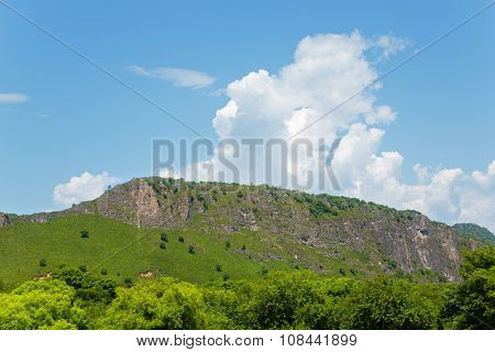Mountain range against the blue sky. Far East, Russia.