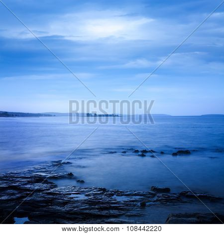 Peaceful Sea Landscape. Long Exposure. Calm Water.