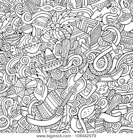 Cartoon hand-drawn doodles on the subject Latin American style