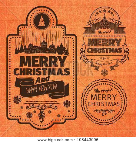 PrintMerry Christmas And Happy New Year Wishes monochrome brown Typographic Labels and Badges set on