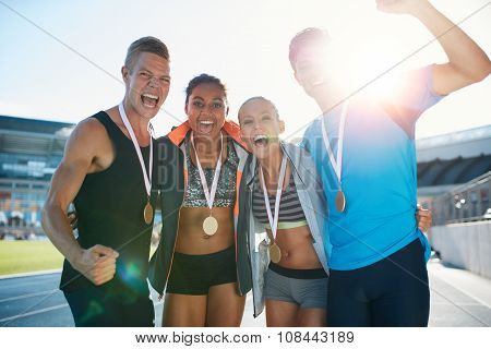 Group Of Athlete Celebrating Victory