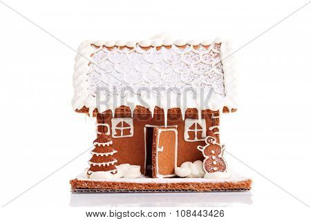 Gingerbread house on white background - sweet food