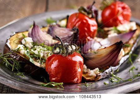 Baked Eggplant With Tomatoes, Onion And Herbs