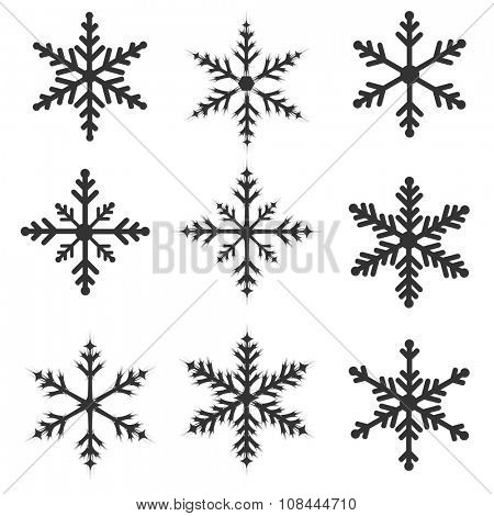 Snowflakes illustration set isolated on a white background