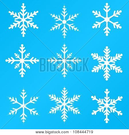 Snowflakes illustration set on a blue background
