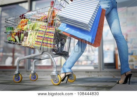 Walking shopping woman holding bag and shopping trolley close up sale concept