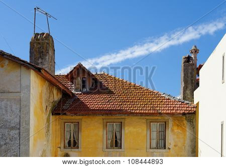 An old house in Sintra Portugal with tile roof and garret