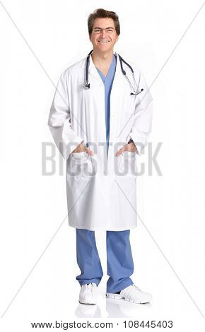 Smiling medical doctor man isolated over white background.