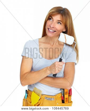 Woman with  paint roller. Isolated white background.